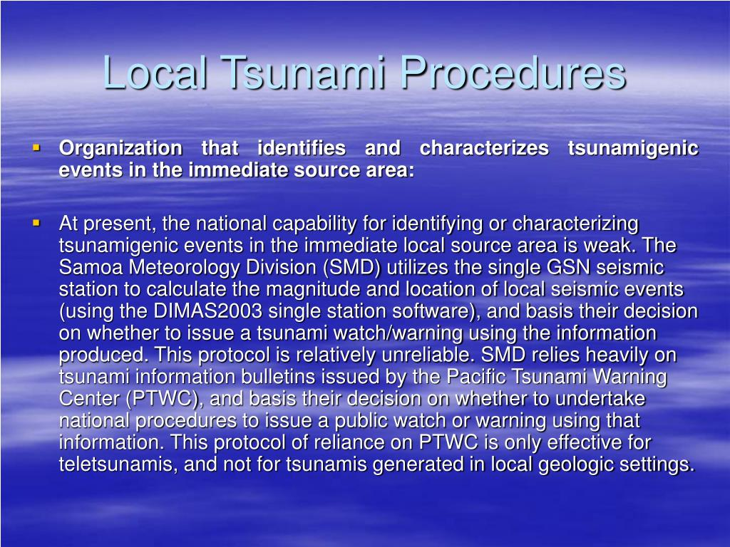 Local Tsunami Procedures