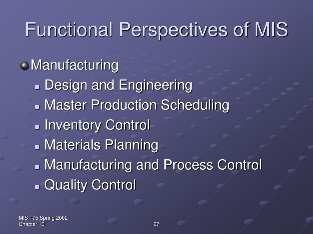 Functional Perspectives of MIS