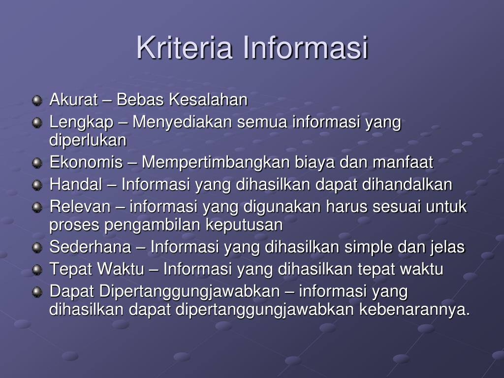 Kriteria Informasi