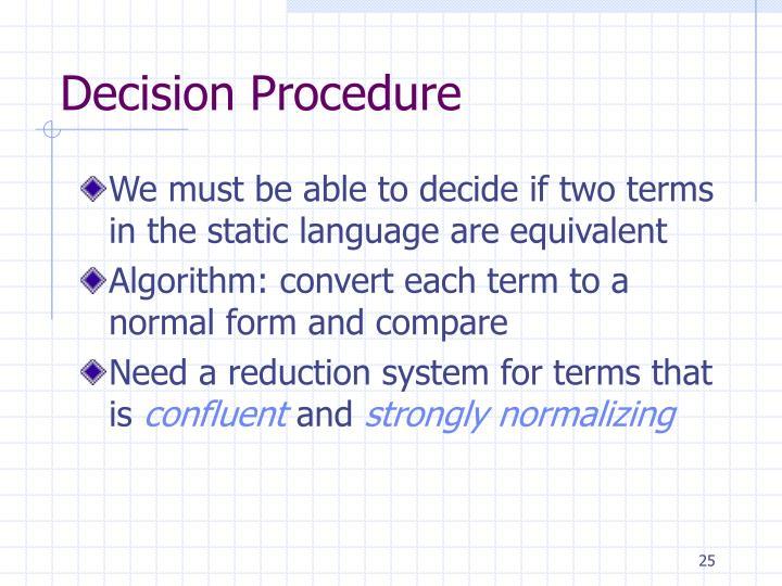 Decision Procedure