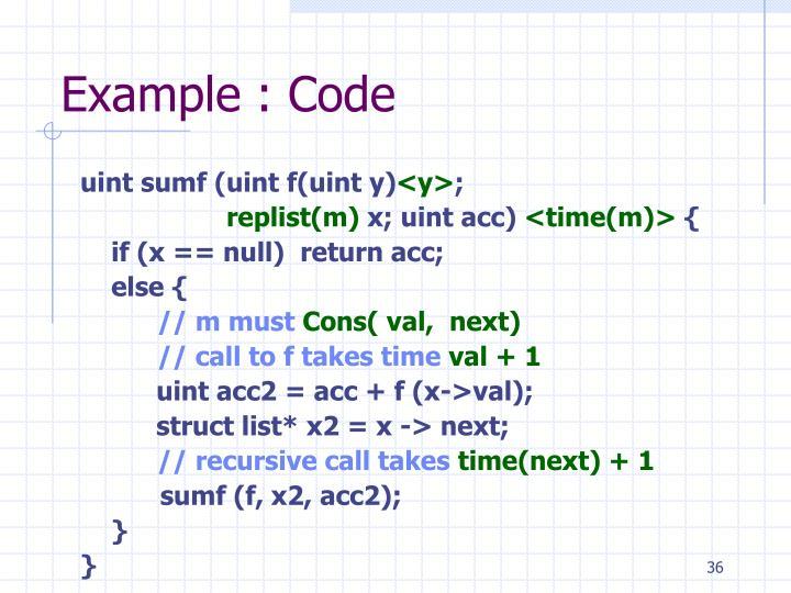Example : Code