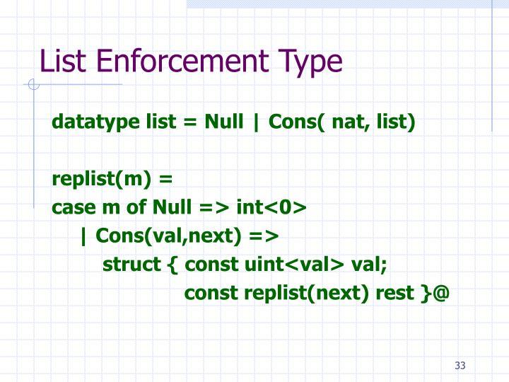 List Enforcement Type