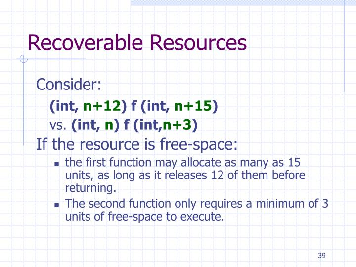 Recoverable Resources