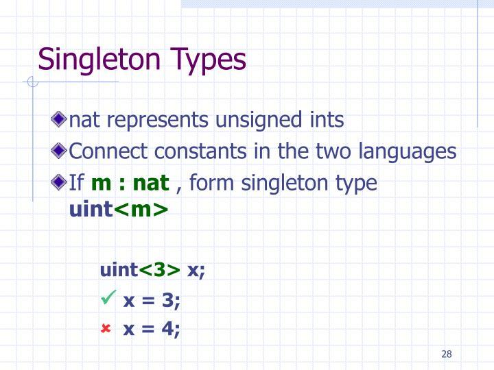 Singleton Types
