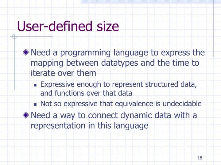 User-defined size