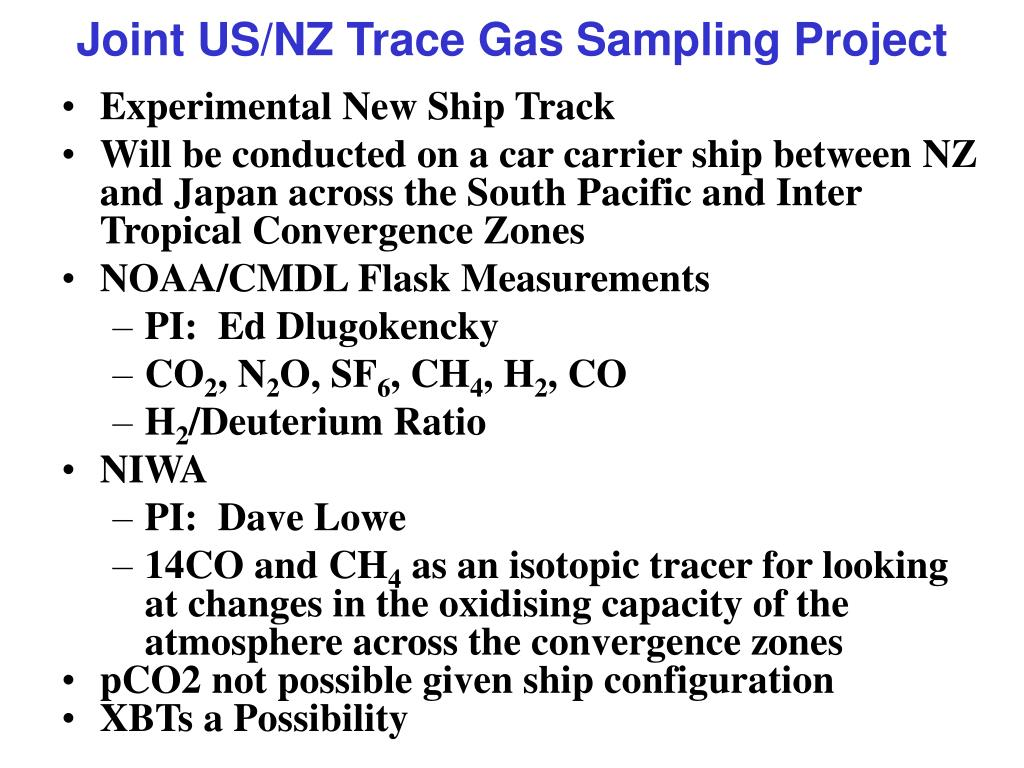 Joint US/NZ Trace Gas Sampling Project