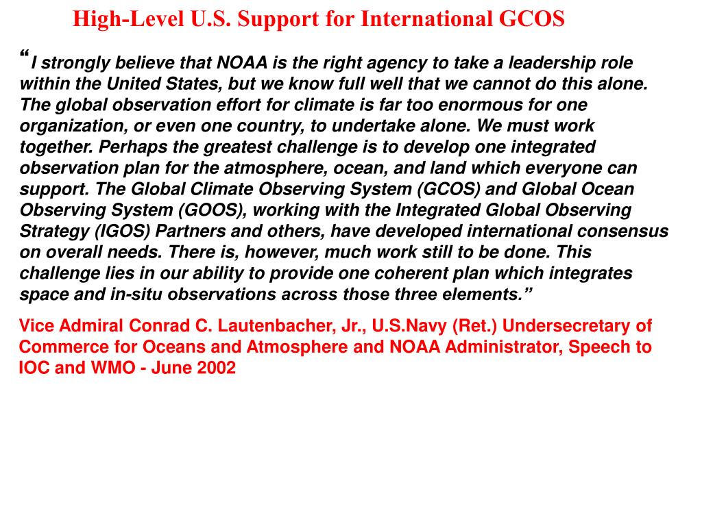 High-Level U.S. Support for International GCOS