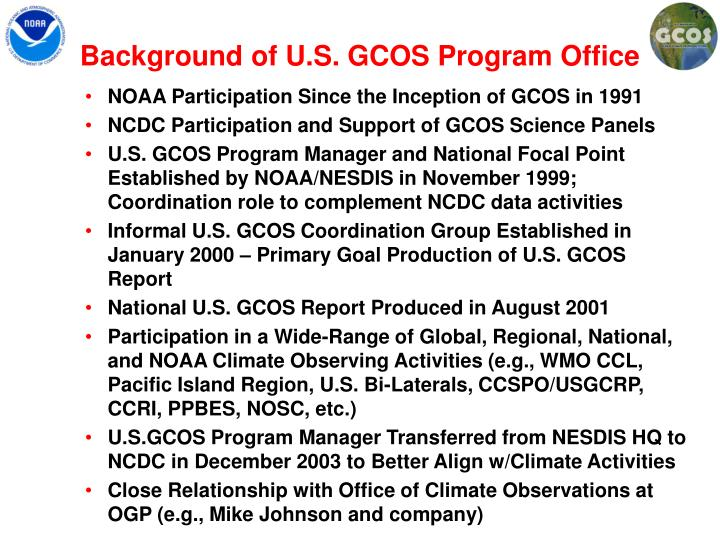 Background of U.S. GCOS Program Office