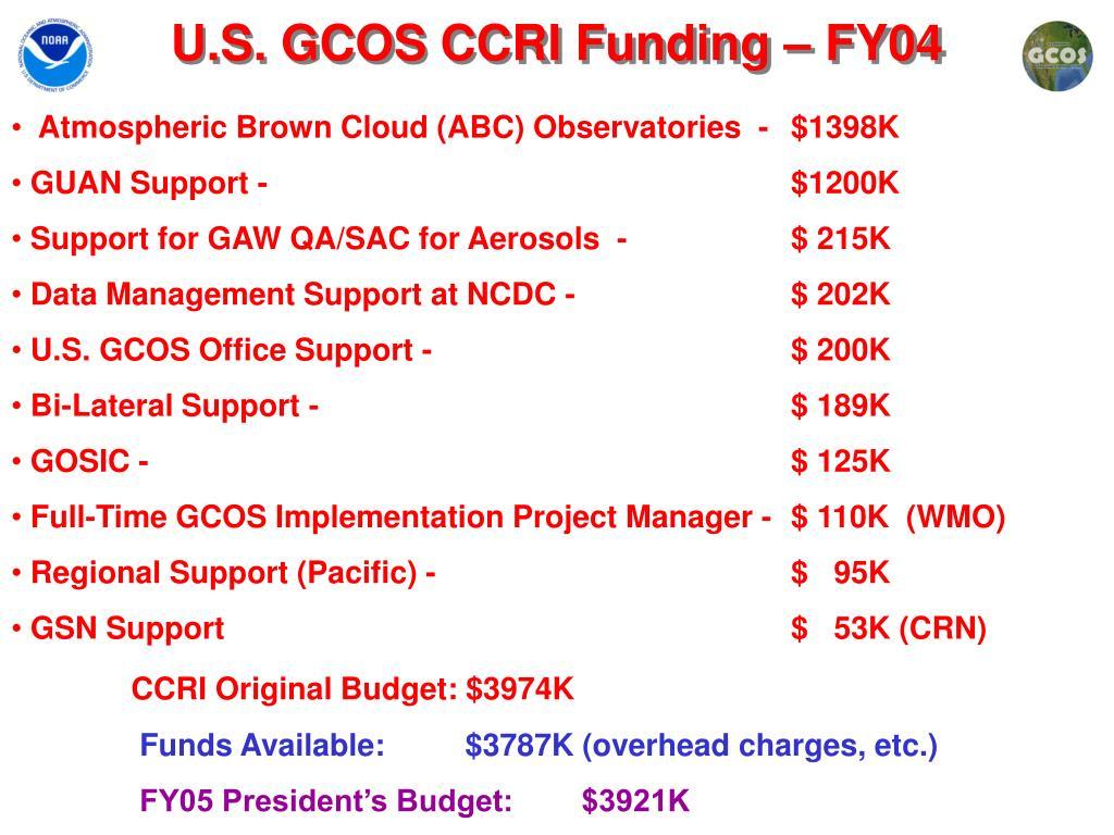 U.S. GCOS CCRI Funding – FY04