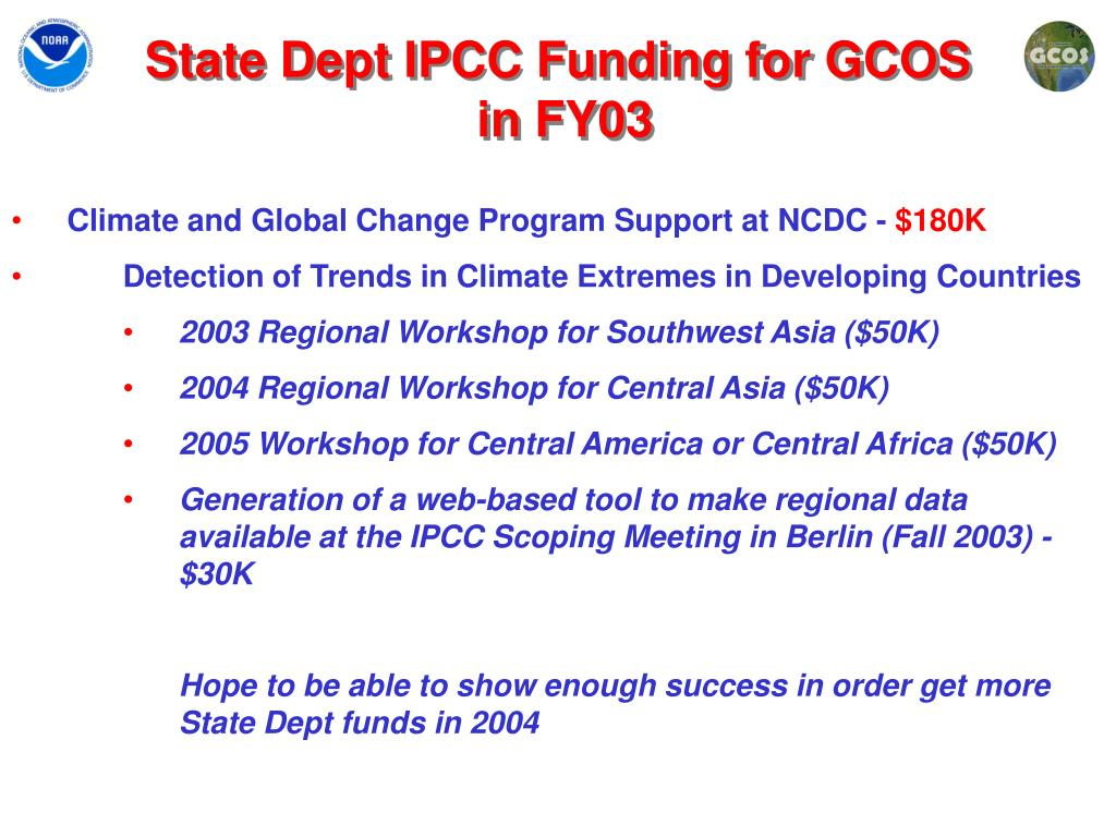 State Dept IPCC Funding for GCOS
