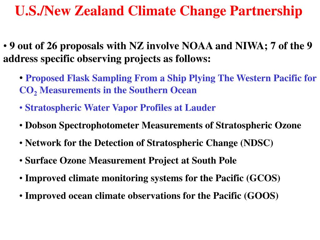 U.S./New Zealand Climate Change Partnership