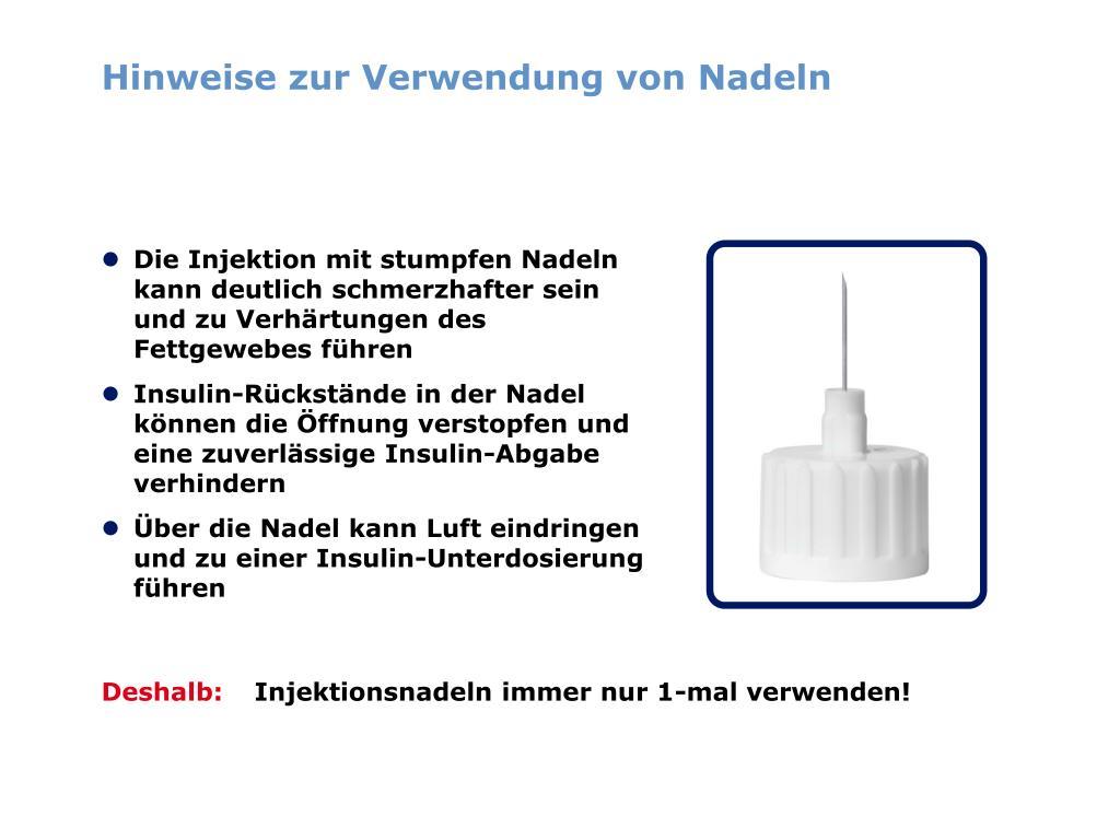 Hinweise zur Verwendung von Nadeln