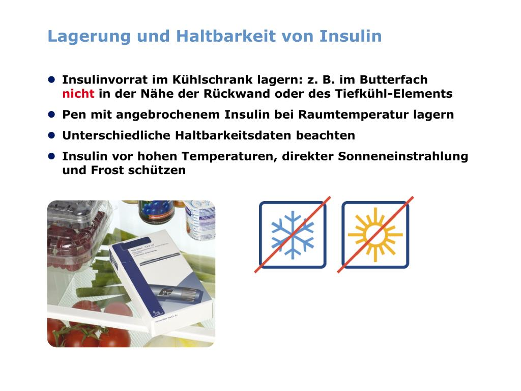 Lagerung und Haltbarkeit von Insulin