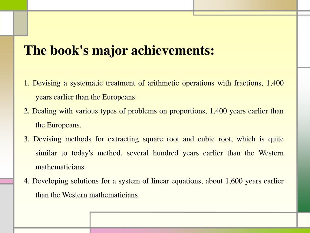 The book's major achievements: