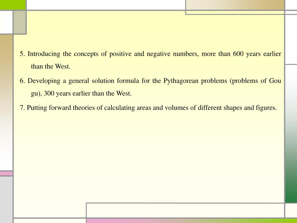 5. Introducing the concepts of positive and negative numbers, more than 600 years earlier than the West.