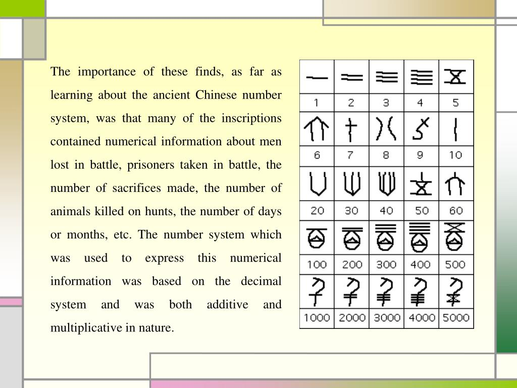 The importance of these finds, as far as learning about the ancient Chinese number system, was that many of the inscriptions contained numerical information about men lost in battle, prisoners taken in battle, the number of sacrifices made, the number of animals killed on hunts, the number of days or months, etc. The number system which was used to express this numerical information was based on the decimal system and was both additive and multiplicative in nature.