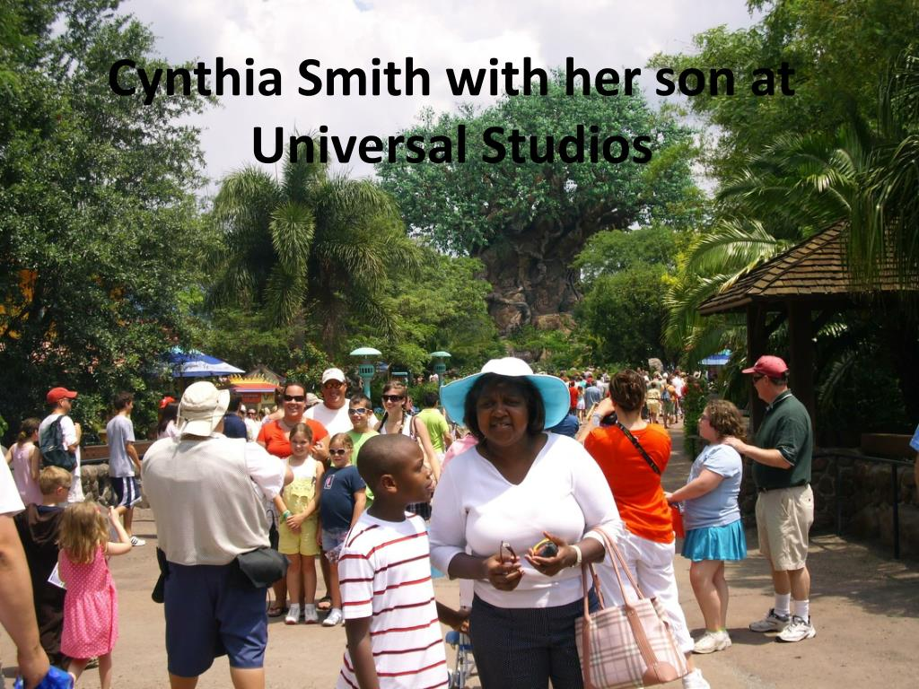 Cynthia Smith with her son at Universal Studios