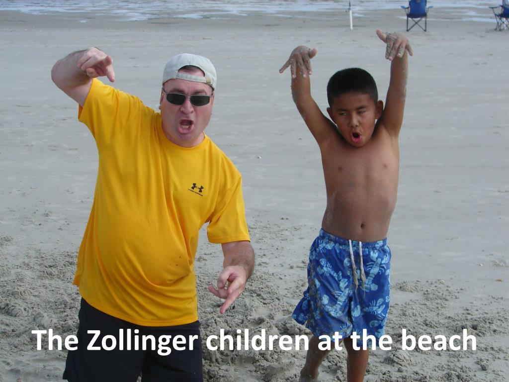 The Zollinger children at the beach