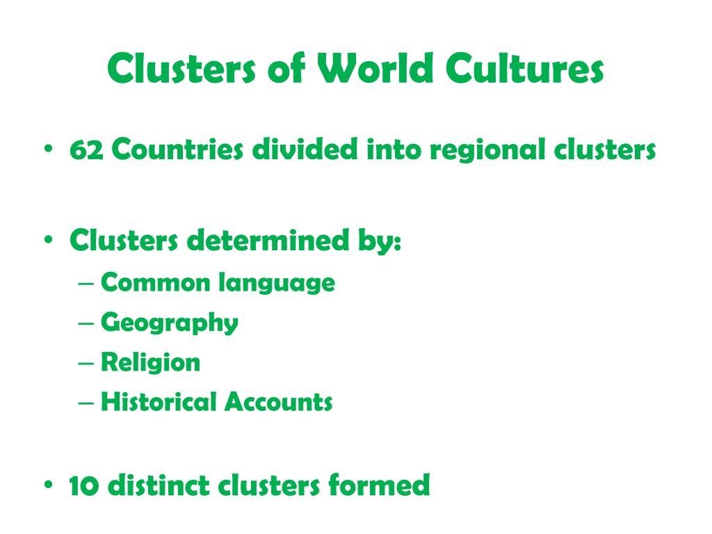 Clusters of World Cultures