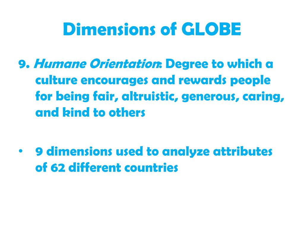 Dimensions of GLOBE