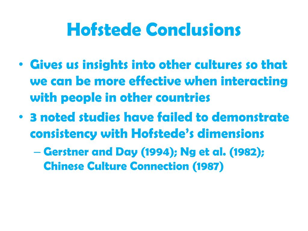 Hofstede Conclusions