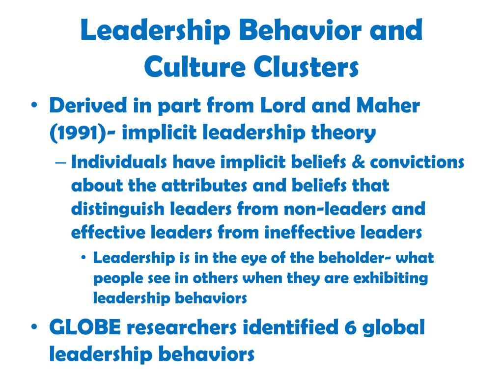 Leadership Behavior and Culture Clusters