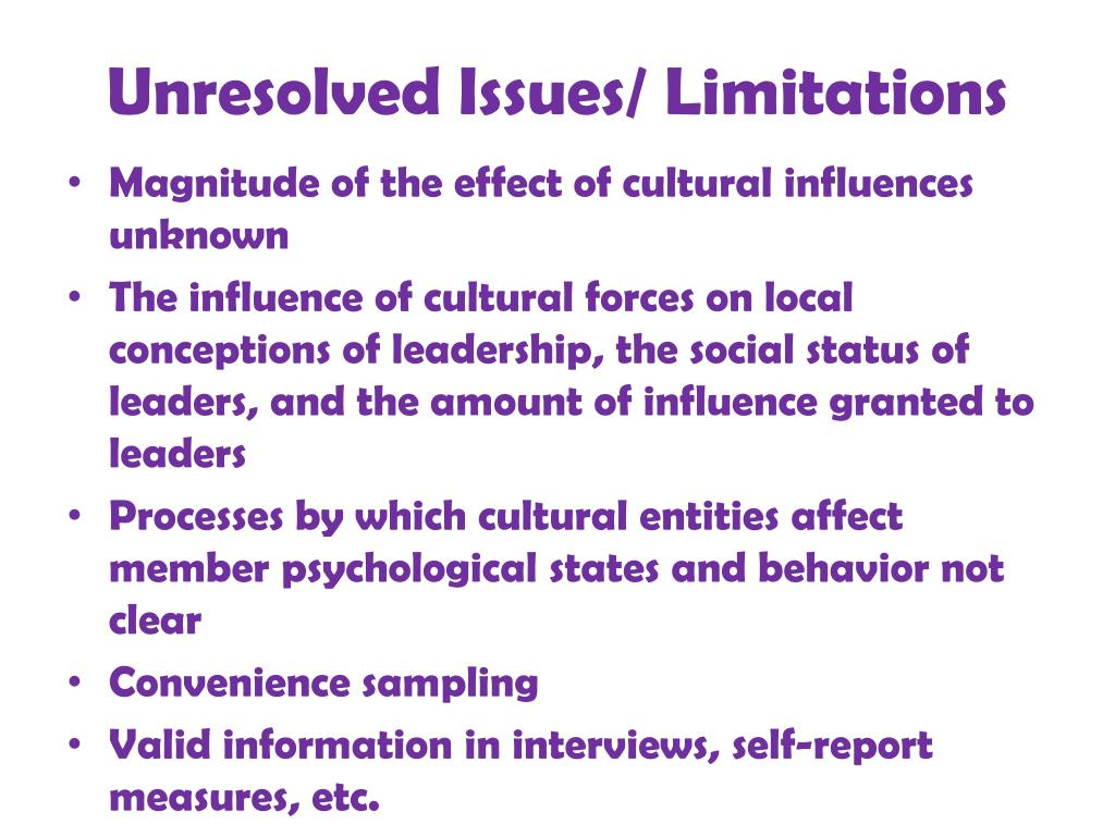 Unresolved Issues/ Limitations