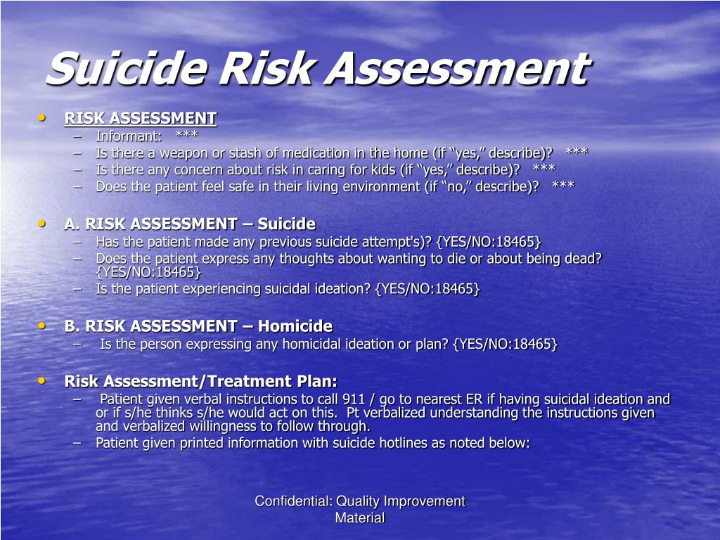 suicide risk assessment Suicide risk assessment helps us distinguish people who have thoughts of ending their lives from those who are in danger of attempting or completing suicide.