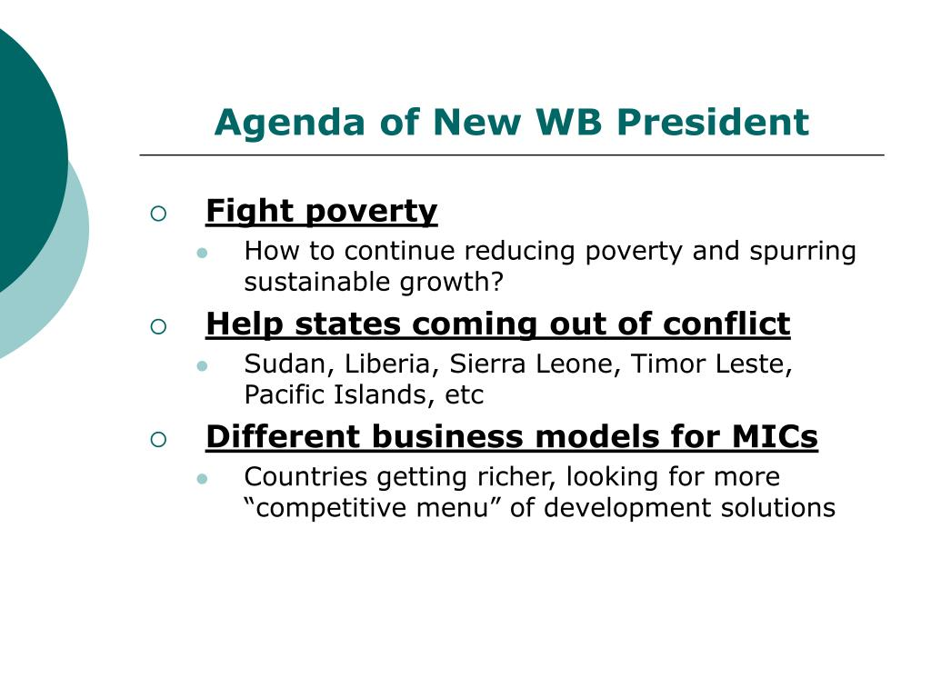 Agenda of New WB President
