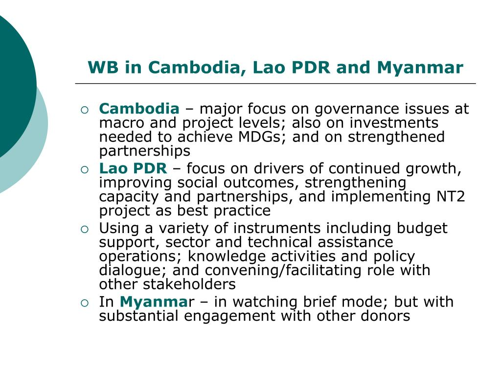 WB in Cambodia, Lao PDR and Myanmar
