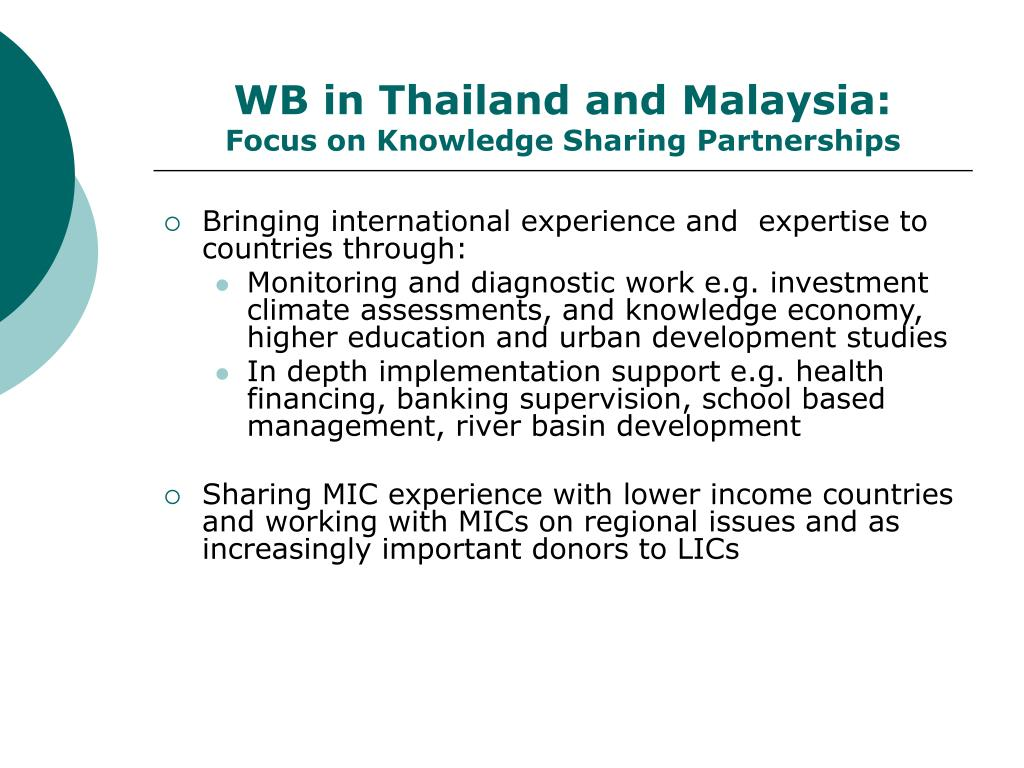 WB in Thailand and Malaysia: