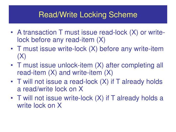 Read/Write Locking Scheme