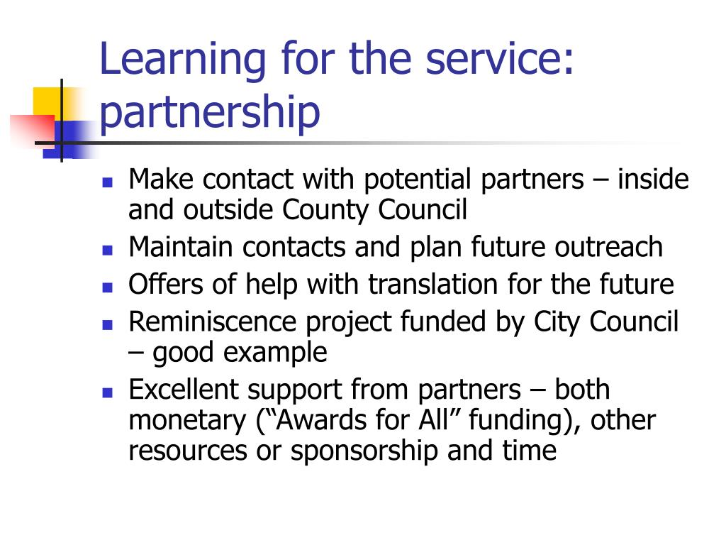 Learning for the service: partnership