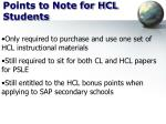 points to note for hcl students