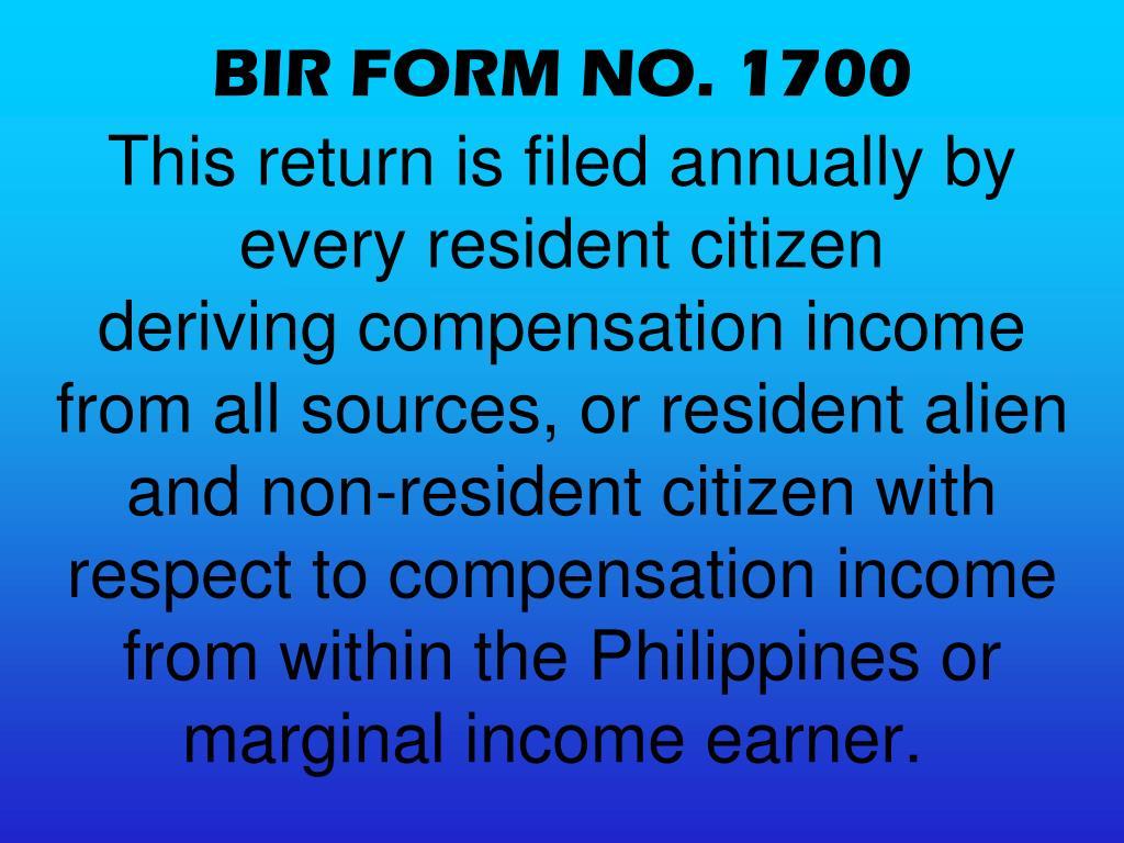 BIR FORM NO. 1700