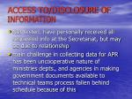 access to disclosure of information