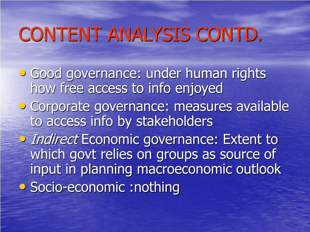 CONTENT ANALYSIS CONTD.
