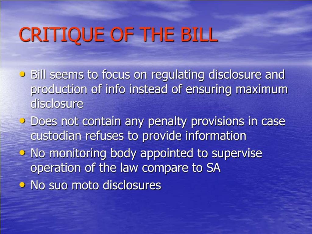 CRITIQUE OF THE BILL