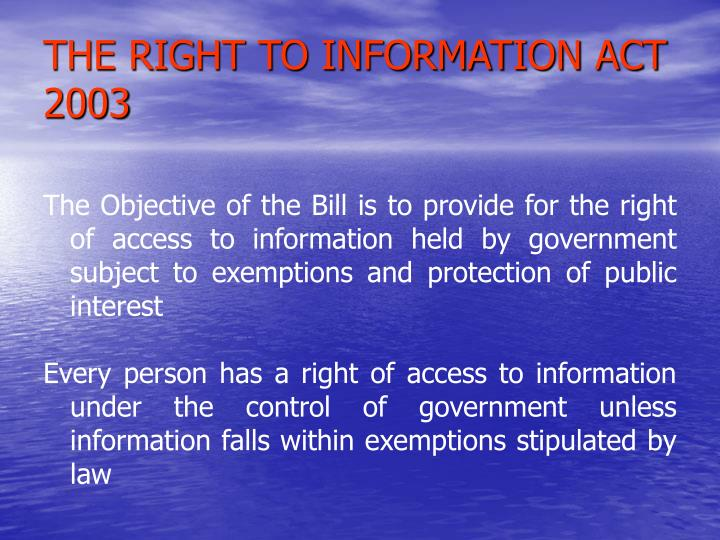 The right to information act 2003 l.jpg