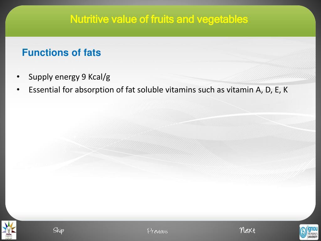 Supply energy 9 Kcal/g