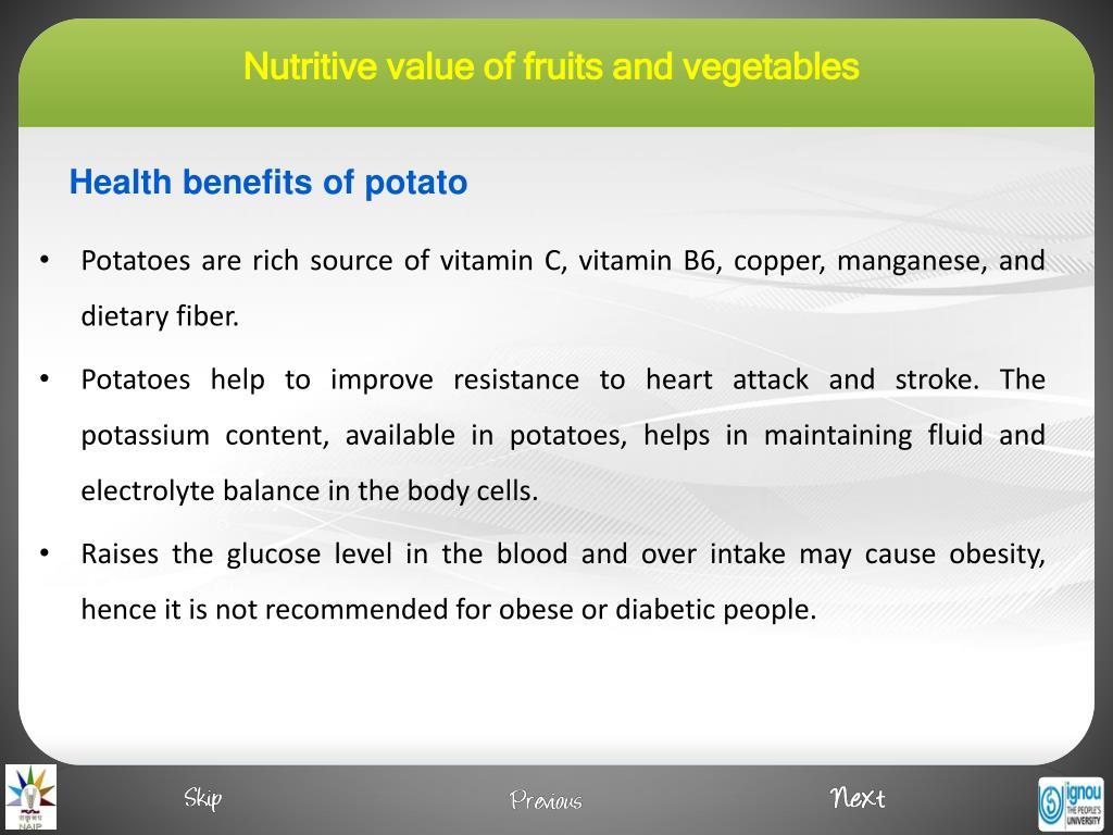 Health benefits of potato