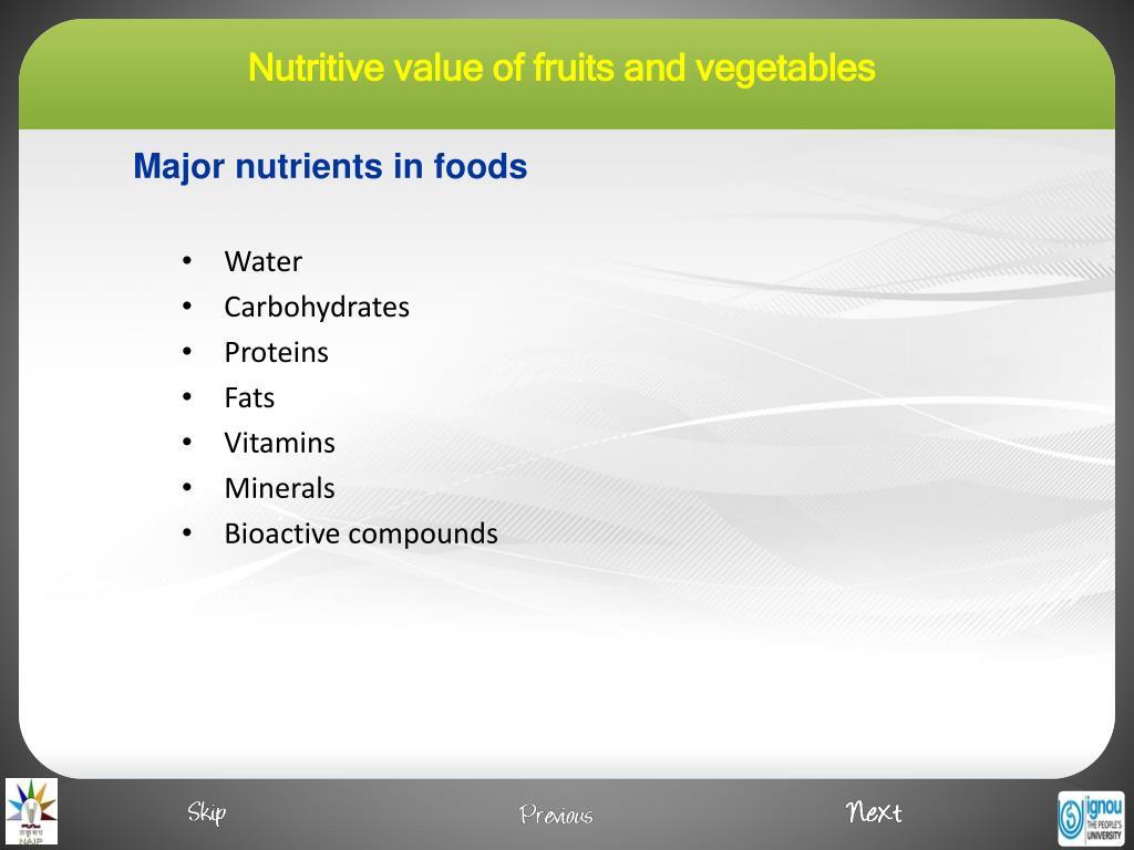 Major nutrients in foods