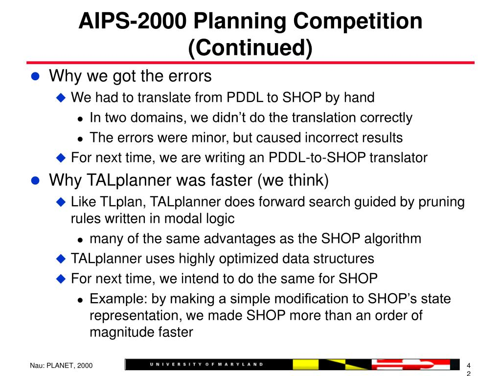 AIPS-2000 Planning Competition (Continued)