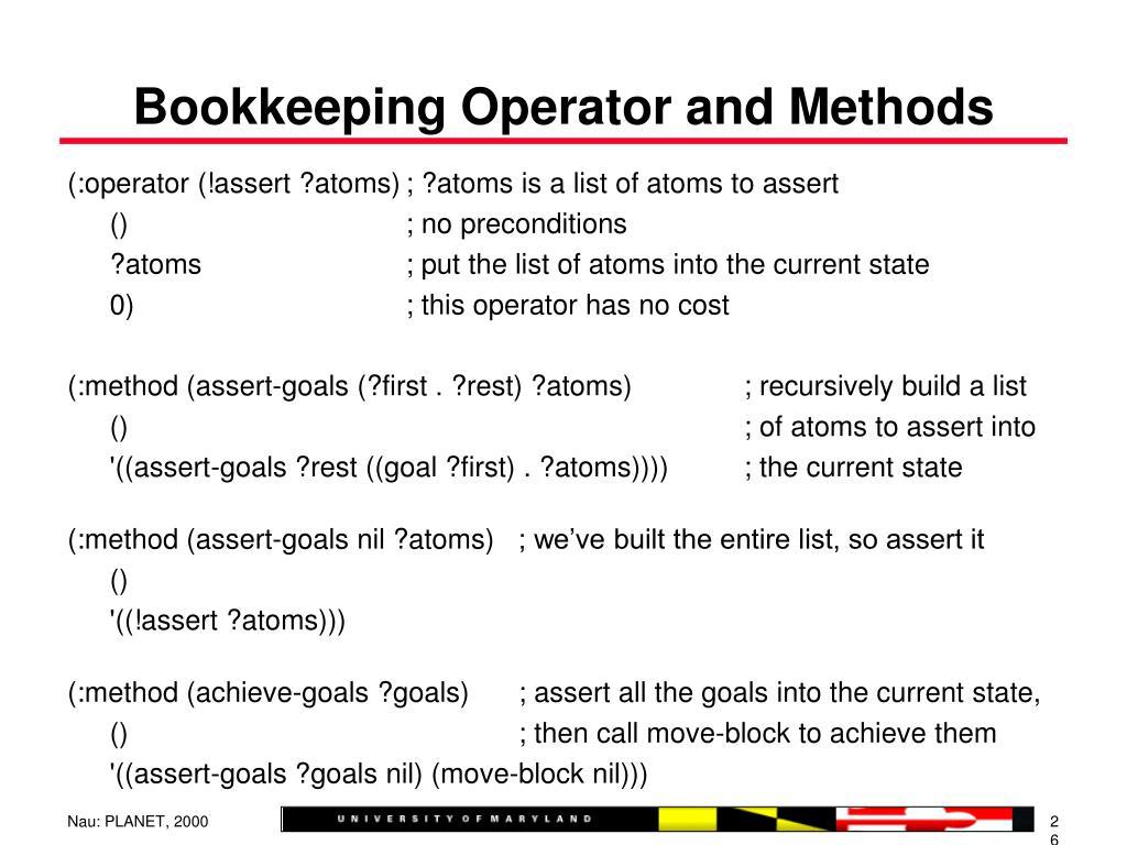 Bookkeeping Operator and Methods