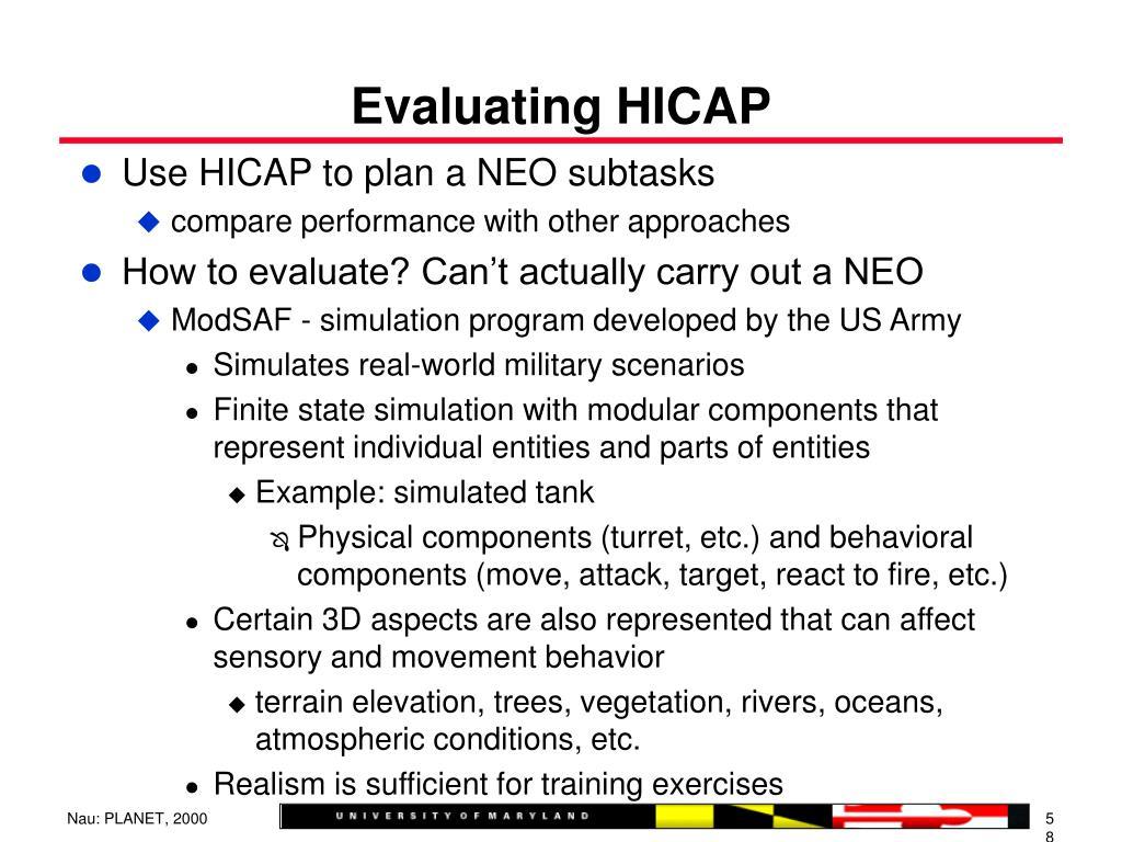 Evaluating HICAP