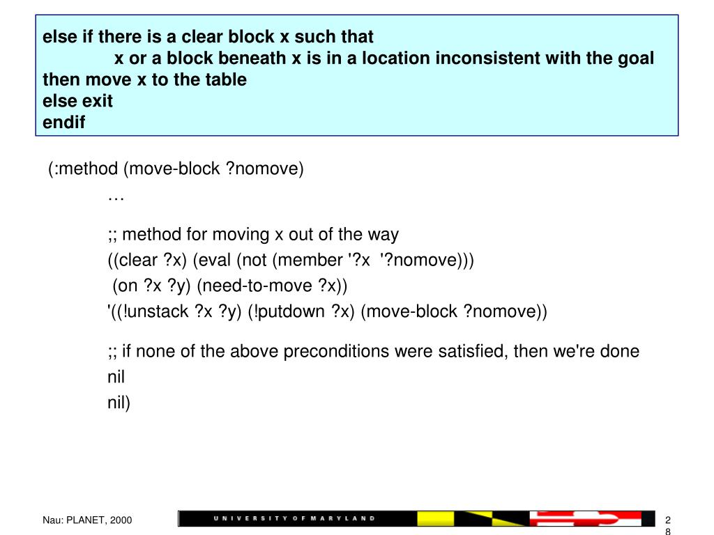 else if there is a clear block x such that