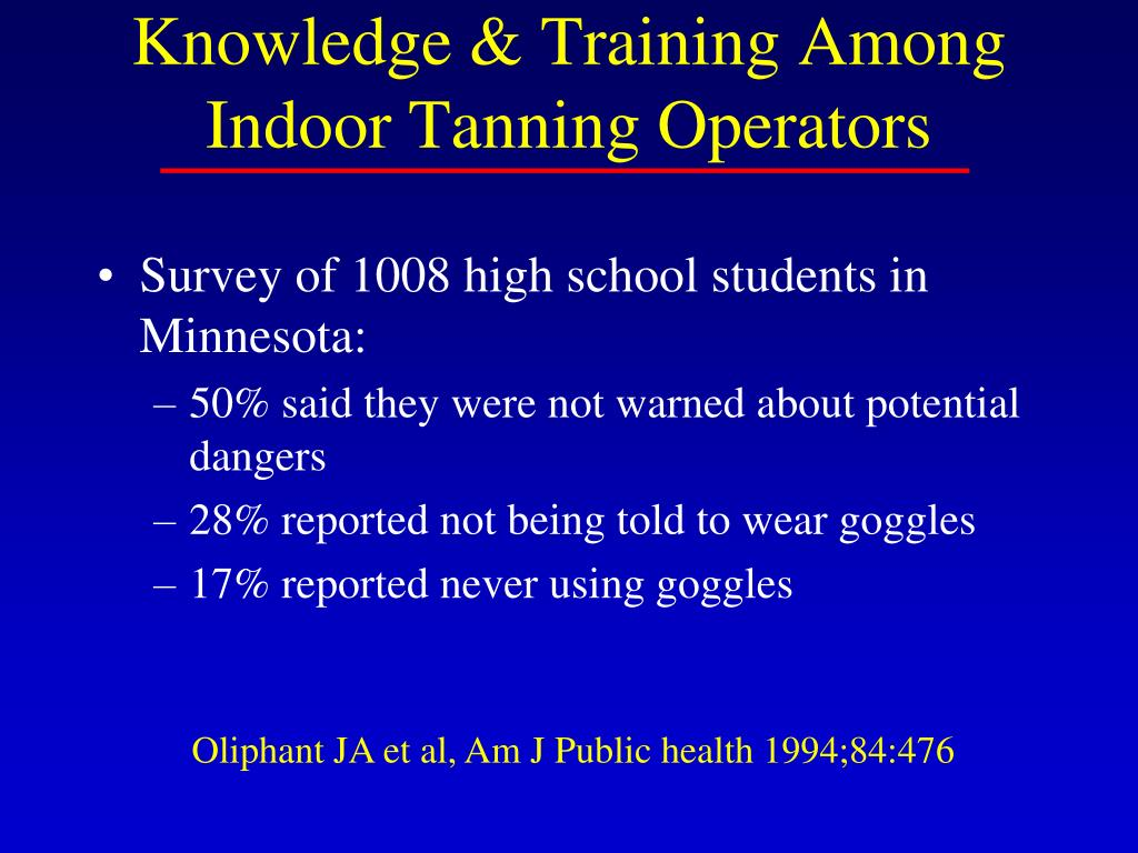 Knowledge & Training Among Indoor Tanning Operators