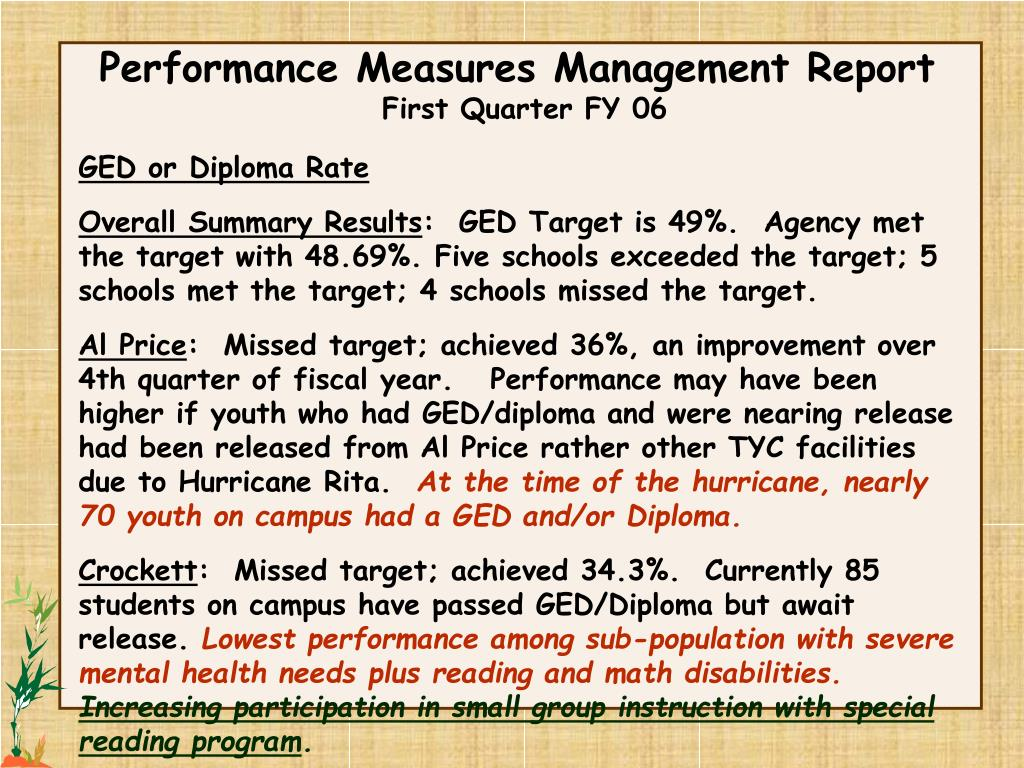 Performance Measures Management Report