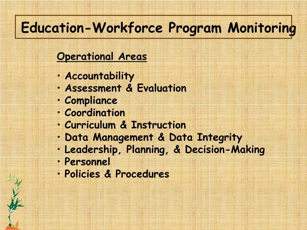 Education-Workforce Program Monitoring