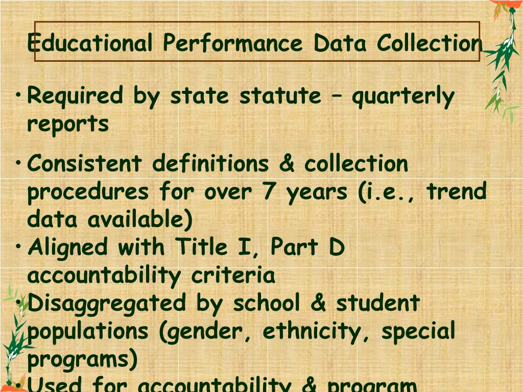Educational Performance Data Collection